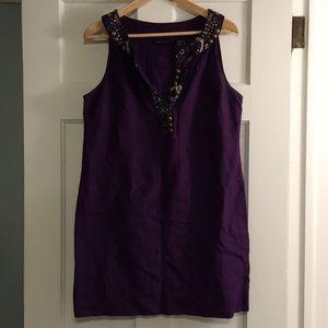 Sequined collar linen dress